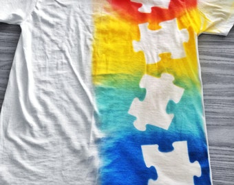 Autism Spray Painted Puzzle Piece T-Shirt