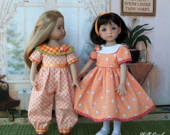 """PRINTED  Sewing Pattern - Orange Blossom - for Dianna Effner 13"""" Little Darlings by Farmcookies"""