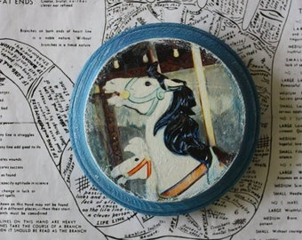 Hand Painted, Horses, Carousel, Antique, Blue, White, 4 x 4, Round, Wood, Original, Mixed Media, Miniature, Affordable, Art