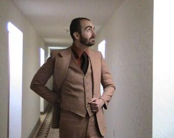 Vintage Oggi Wool Three Piece Suit Pink Tweed