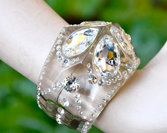 CHRISTIAN DIOR Crystals on Perspex Art Deco Cuff