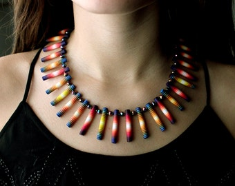 Striped Tubes Necklace-Blue Iris.