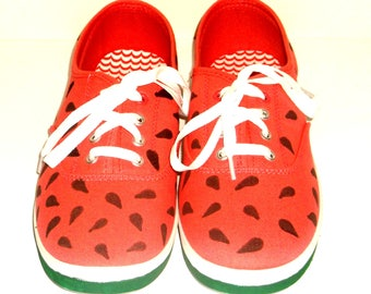 Hand Painted Watermelon Shoes, Lace Up Sneakers, Women Canvas Shoes, Christmas Gifts for Girlfriend, Stocking Stuffer for Women, Teen Girls