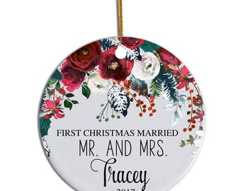 First Christmas Married Ornament, 1st Christmas Married, Personalized Ornament, Mr Mrs Ornament, Couples Ornament Personalized Wedding Gift