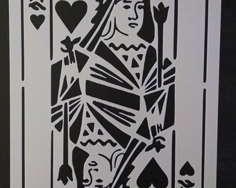 Playing Card Queen Of Hearts (Can do any card you need - contact me) Custom Stencil FAST FREE SHIPPING
