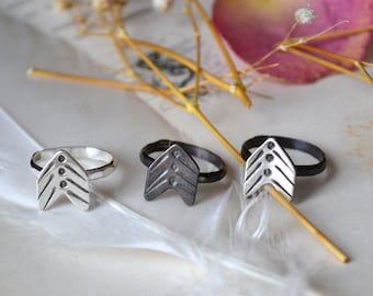 Arrow Vane Silver Chevron Stacker OR Upper Knuckle Ring