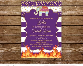 Lohri invitation his hers lohri bonfire invitation printable punjabi baby celebration lohri invitation elephant song and dance bonfire indian baby stopboris Images