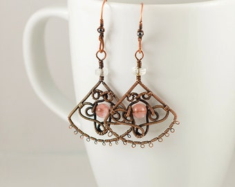 Metal Lace Earrings with Strawberry and Crystal Quartz Gemstones, Original Design, Wirewrapped Earrings in Copper, Sterling Silver, or GF