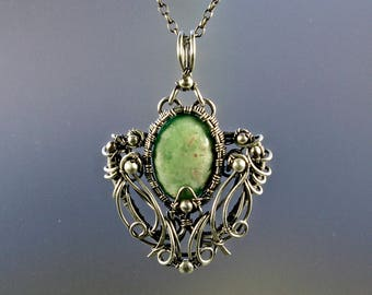 Variscite Sterling Silver Pendant, Variscite Necklace, Gothic Necklace, Fairytale Necklace, Soft Green Pendant, Rolo Chain and Extender