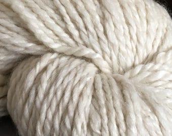 5.2 oz of Creamy White Natural Alpaca Handspun ; Alpaca hand spun yarn blend, 20% Tencel