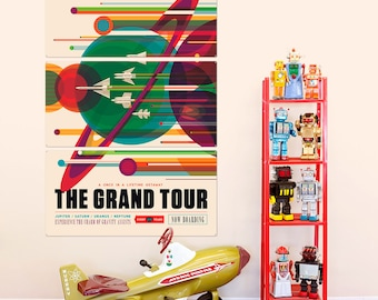 Grand Planet Tour Space Travel Triptych Metal Wall Art