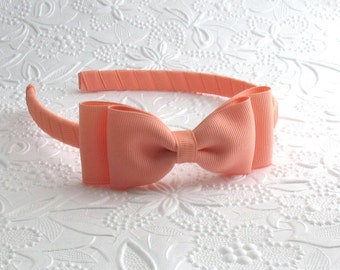 Peach Bow Headband, Girls Headband, Toddler Headband, Hard Plastic Headband, Adult Bow Headband