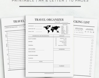 Travel Journal A4 & Letter Size Travel Planner Travel Packing List Vacation Organizer Trip Planner Printable Planner Instant Download