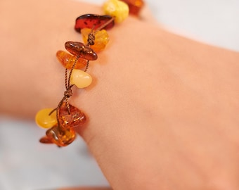 Genuine Natural Baltic Amber Bracelet Raw Amber Beads Multicolour Amber Clasp Man Amber String Handmade Mothers Day Gift Free USA Ship