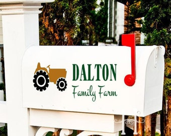 Tractor Mailbox Decal Family Farm Vinyl decal lettering custom  Farming Family, country decor, rural , outdoor vinyl, yard decor, farmers