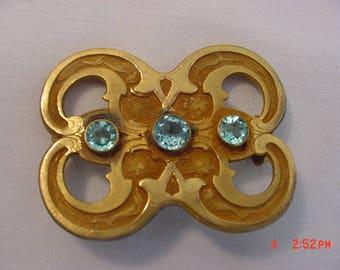 Vintage Light Blue Rhinestone Brooch  18 - 539