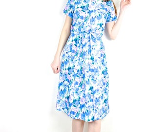 French Vintage 1960s Blue Floral Print Dress / Pastel Watercolor Fitted Belted Midi Dress Textured Short Sleeve Summer Dress / Size Small