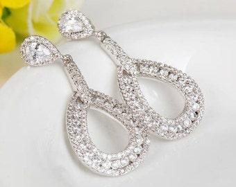 Bridal Earrings | Wedding Jewelry | Bridesmaid Earrings | Chandelier Earrings | Bridal Jewelry | Teardrop Earrings | Weddings