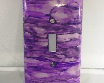Purple Switchplate, Single Switchplate, Home Decor, Painted Switchplate, Alcohol Ink Decor