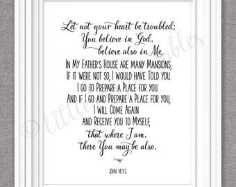 John 14:1-3, printable wall art, Bible Verse quote, Let not your heart be troubled, home decor print, In my Father's house are many mansions