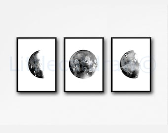 Celestial Moon Phase Art Prints Set of 3 Wall Decor Home Decor Watercolor Painting Print Wall Art Phase Luna Print Moon Phases Bedroom Decor