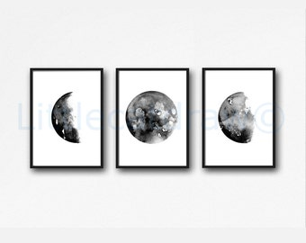 Moon Print Set of 3 Art Prints, Watercolor Painting, Wall Art, Celestial Gift, Bedroom Decor, Home Decor, Luna, Lunar, Moon Gift