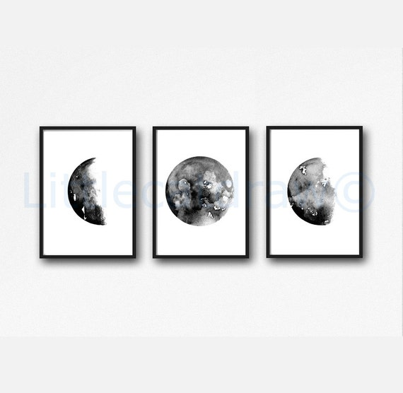 Celestial moon phase art prints set of 3 wall decor home decor