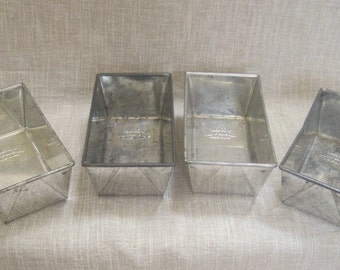 "4 Bake King Small Loaf Pans Tins 6"" Metal Folded Ends Country Kitchen Cottage Chic U.S.A."