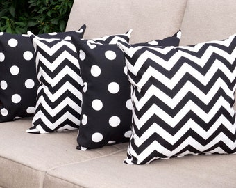 Chevron Black and White and Polka Dot Black and White Lumbar Outdoor Throw Pillow free shipping