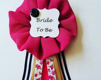 Black Stripes Floral and Gold Kate Spade Inspired Bride to Be Pin Bridal Shower Pin Ribbon Corsage