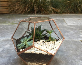 Terrarium, Glass terrarium, copper wedding centrepiece for candles and fairylights ,copper dodecahedron , succulent geo planter,