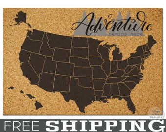 Travel Cork Board // X-LARGE Pinnable Cork Map of the USA // United States Travel Map // Bulletin Board Map // Dorm Room Decor//Push Pin Map