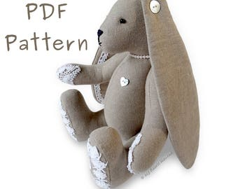 "11"" Lacy Bunny, Floppy Eared Bunny PDF SEWING PATTERN & Easy Instructions"
