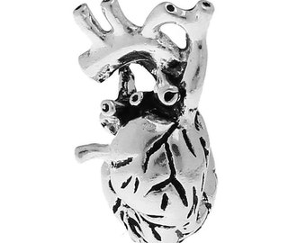 1pc. Antique Silver Anatomical Organ Human Heart Medical Charms Pendants - 27mm X 13mm