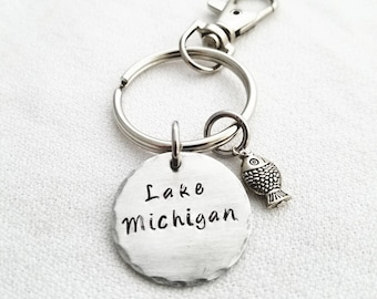 Personalized Lake Michigan stamped metal keychain with Fish Charm