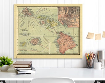 Hawaii State Map, Hawaii Map Canvas, Antiqued Hawaii Map, Canvas Wall Decor, Hawaii Wall Decor, Map of Hawaii Canvas