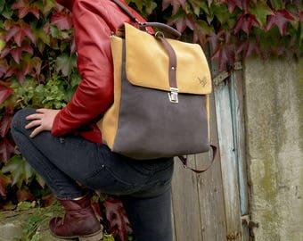 Satchel/ Backpack yellow-gray