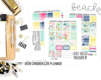 Beach Weekly Kit, Printable Stickers with Cut Files, Printable Sticker Kit, for use with Erin Condren Life Planner | Beachy