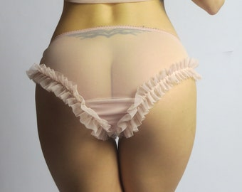 womens sheer panty with soft ruffle detail - RUFFLES mesh lingerie range - made to order