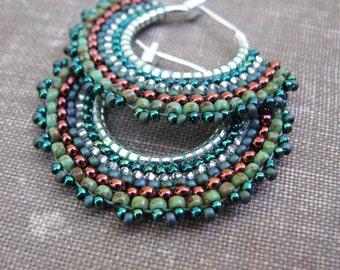 Olive Green Earrings, Beaded Hoops, Tribal Boho Style
