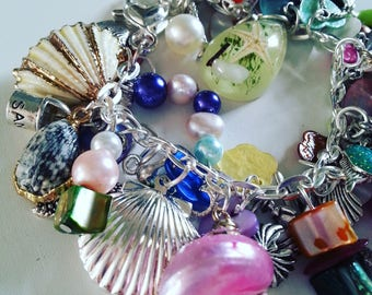 Loaded, Luxurious, Tropical Island, Beach, Sea, Ocean, charms Bracelet, moon, Summer, shell, seahorse, mermaid, by NewellsJewels on etsy