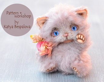 PDF teddy bear pattern, kitten pattern with step-by-step photo and text instructions