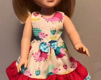 Hedgehog and Ruffles dress for 14.5 doll