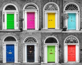 Door photography, Dublin doors photo collage, Ireland colorful print, Irish Travel decor, Wall art, Printable art, Instant download, 8x10