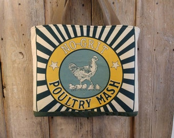 Chicken poultry mash tea towel upcycled tote
