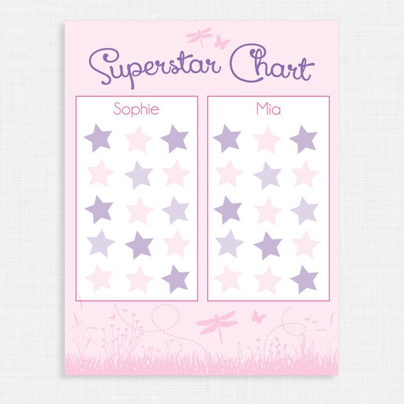 Printable Chore Chart- Superstar Chart - Star Chart - Weekly Star Chart - Children Chart- Routine charts-  Reward Chart