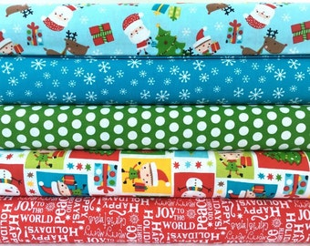 Novelty Christmas Cotton Fabric Bundle by A.E. Nathan - Choose the size! 5 different fabrics