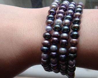 Purple Hued Pearl Multistrand Bracelet