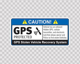 Stickers Decal Gps Protected Prevention Sign Vehicle 14066