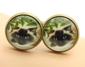 Cufflink  Persian cat(1616)